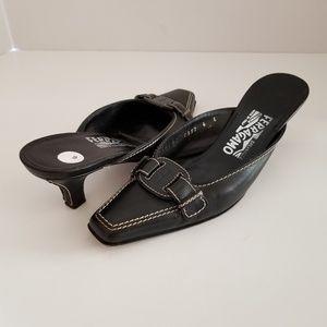Salvatore Ferragamo 6 Black Leather Mules